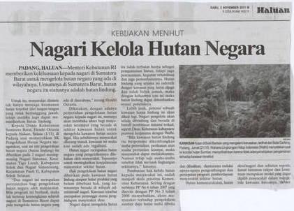 Nagari kelola Hutan Negara